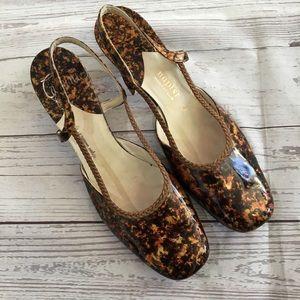 VINTAGE Caprini Napier Marbled Clear Lucite Heels